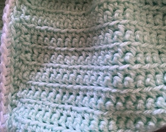 Mint Green Crochet Baby Square Afghan