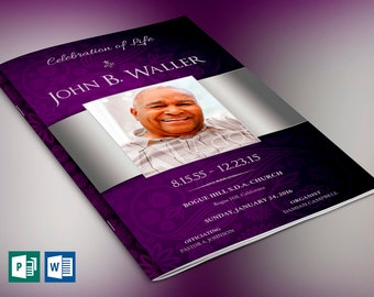 Lavender Silver Dignity Funeral Program Publisher Word Template