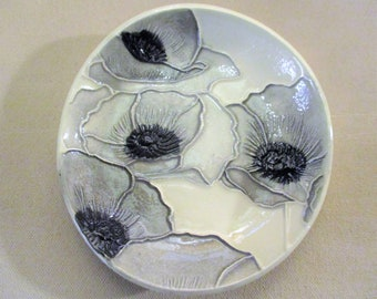 "Black & White Watercolor Poppies!  One of a Kind Handmade Ceramic jewelry, soap, trinket, ring dish    5""                  #5"