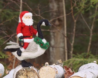 Needle Felted Miniature Canada Goose and Santa Claus- Needlefelted Wool Bird and People Soft Sculpture