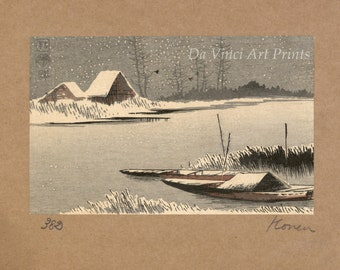 Japanese Art. Fine Art Reproduction. Ferryboats in Snow - Yuki wo watashiba, c.1900 by Uehera, Konen