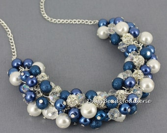 Sapphire Blue and White Cluster Necklace Pearl Cluster Necklace Blue Necklace Bridesmaid Necklace Bridesmaid Gift Pearl Necklace