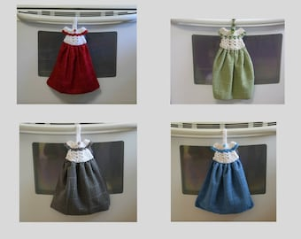 Hanging Kitchen Towel, Kitchen Towel, Crochet Dress Towel Topper, Red Towel, Blue Towel, Gray Towel, Green Towel