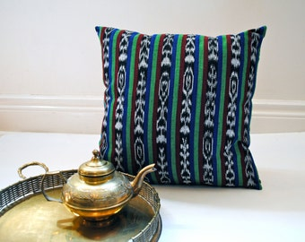 "Exotic Ikat Woven PILLOW Cover -16"" Throw Pillow Sham - Home Decor - Indigo Blue and Burgundy Sofa Cushion Cover (Ready to Ship)"