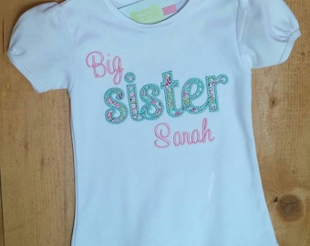 Big Sister Applique Shirt with Personalized Embroidered Name Long Sleeve or Short Sleeve 18m -10 Custom Shirt Sibling Shirt