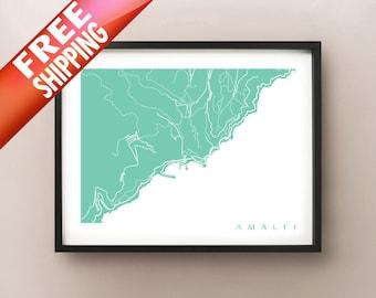 Amalfi Map Print - Italy Art Poster