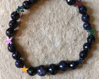 Blue goldstone 6mm semi precious gemstone bracelet with stunning Rainbow Hematite stars spiritual healing yoga reiki genuine crystal healing