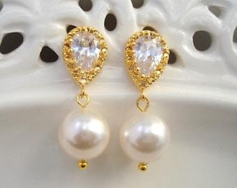 Pearl wedding Earrings,Bridal stud Earrings, rhinestone Wedding Earrings, bridal earrings, pearl rhinestone earrings, cubic zirconia, AUDREY