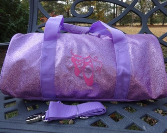 Personalized Dance Bag  Ballet Bag  Purple Dance Bag  Sparkly Purple Ballet Bag  BLING