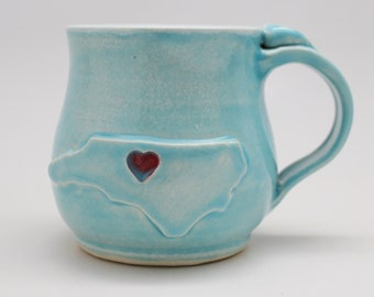 North Carolina Mug, Handmade Ceramic Mug, Made Per Order