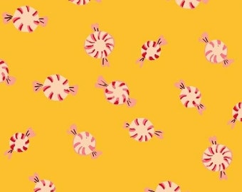 Sugarplum by Heather Ross for Windham Fabrics - Peppermints - Yellow - 50167-7 - 1/2 Yard Cotton Quilt Fabric