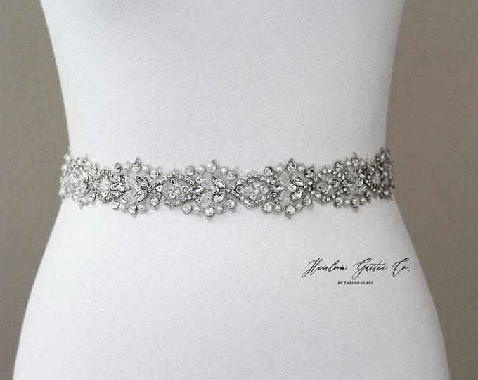 Bridal Belt, Floral Rhinestone Bridal Sash, Beaded Bridal Sash, Wedding Belt, Wedding Sash Rhinestone Sash B60S