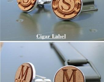 Personalized Cufflinks, Cufflinks, Silver, Custom Cuff links, Groomsmen Cufflinks, Wood Cuff links, 20mm, Round Cuff Links, Mens Cuff Links