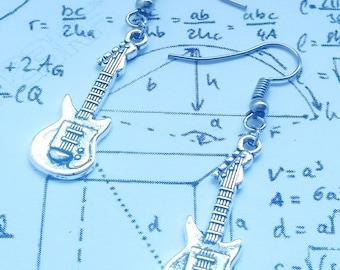 Silver Electric Guitar dangle earrings