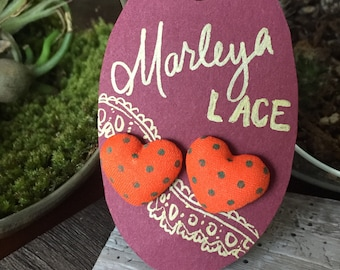 Fabric heart shaped stud earrings, with green polka-dots