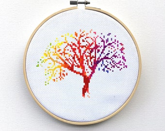 Modern Cross Stitch Kit, Modern Embroidery Kit, Tree Cross Stitch Kit, Hoop Art Kit, DIY Kit, Colorful Cross Stitch, Rainbow Cross Stitch