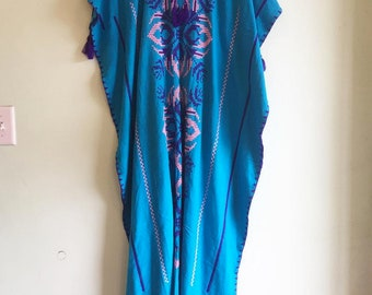 Vintage Cotton Embroidered Blue Caftan Dress