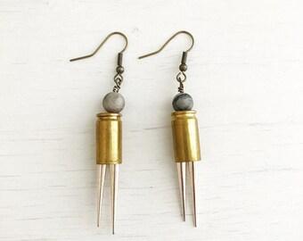 Samara Earrings // Bullet casings + Spikes  + Handmade Jewelry + Boho