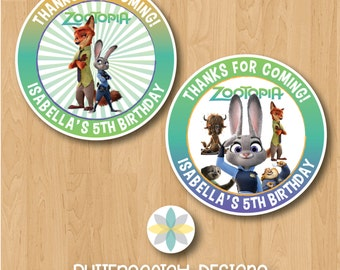 Personalized Zootopia Birthday Thank You Favor Tag or Sticker Label - Printable/Digital File