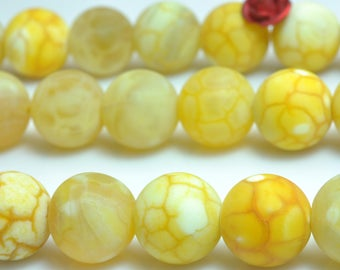37 pcs of Natural Yellow Banded Fire Agate matte dyed round beads in 10mm (07284#)