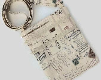 Crossbody bag, French script, beige, brown, light pink accents, Paris shoulder bag, cellphone purse, Kindle bag, tablet purse, e-reader bag