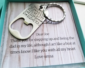 Step Father Key Chain, Bottle Opener, Father's Day Gift, Gift for Step Dad from Son, To Step Dad from Daughter, Step Dad Gift, Father's Day