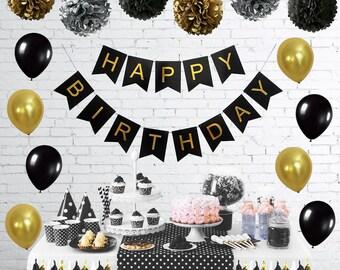 Black Silver Gold Birthday Party Decoration Tissue Paper Pom Pom Paper Tassel Garland Paper Polka Dot