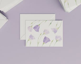Botanical card with aquarelle illustration | Lisianthus II. | Postcard | Botanical Card | Watercolour | Stationery