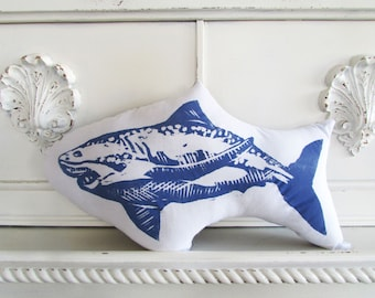 Shark Shaped Animal Pillow. Hand Block Printed. Choose ANY Color. Made to Order.