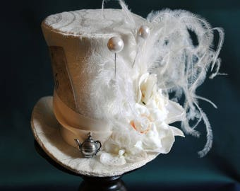 Bridal Mad Hatter Fascinator Mini Hat,Alice in Wonderland Mini Top Hat,Ivory Victorian Tea-Party Mini Hat-Custom-Made to Order