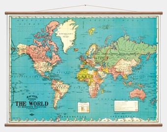 "Pull Down Wall Map - The World - 40""x53"""