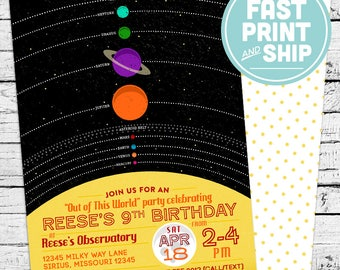 Printed Solar System Space Birthday Invitations and Envelopes