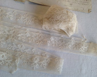 Antique Lace Vintage Tulle Lace, Creamy Floral Trim Dolls Vintage Wedding Victorian Lace /Something Old/ French Haberdashery Sewing supplies