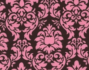 Michael Miller Fabric Dandy Damask Cocoa, Pink and Brown 1 Yard