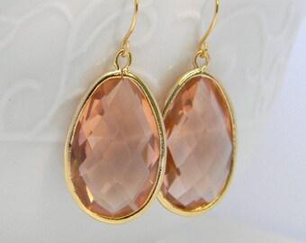 Peach Dangle Earrings-Gold Statement Earrings with Peach Jewels- Large Peach Dangle Earrings-Bridesmaid Gift-Wedding Jewelry