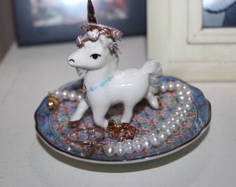 OOAK Magical Unique Unicorn Blue Jewelry Ring Dish