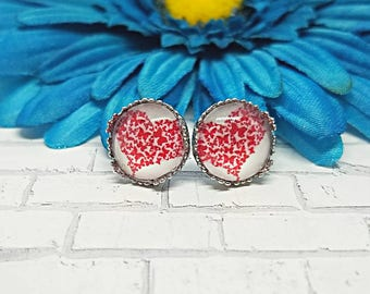 Butterfly Heart Earrings, Earrings, Earrings, Heart Studs, Heart Stud Earrings, Stainless Steel, Hypoallergenic, Heart, Valentine's Day