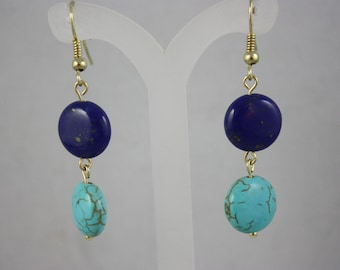 earrings, blue earrings, lapis earrings, magnesite earrings, gemstone earrings, dangle earrings, drop earrings