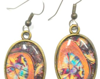 Pretty Abstarct Colorful Paper and  Resin Cameo Earrings