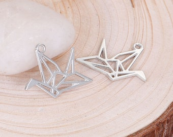 1 pendant 29 mm silver-plated origami bird theme!