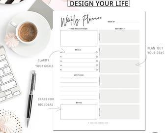 Weekly Planner Printable | Desk Planner | Weekly Planner | PDF Weekly Planner | 8.5 x 11 Letter Size + A4  Instant Download!