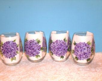 HYDRANGEA WINE GLASSES, stemless, set of four