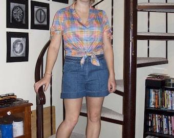 Vintage plaid blouse - medium