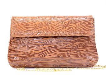 Brown Zebra-print Leather Bag | Clutch | Evening Purse | Shoulder Bag