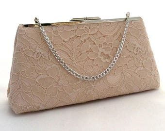 Champagne Lace Summer Purse Handbag ~ Champagne Summer Party Clutch ~  Champagne Evening Cocktail Clutch Purse