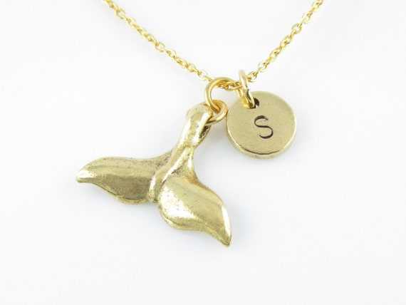 Mermaid tail necklace gold mermaid tail charm whale tail aloadofball Gallery