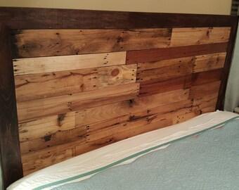 Pallet wood headboard. Reclaimed wood headboard. Rustic headboard.king size headboard, Rustic wood headboard,