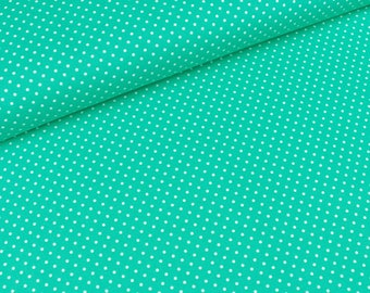 Cotton Judith white dots on emerald green (8,90 EUR / meter)