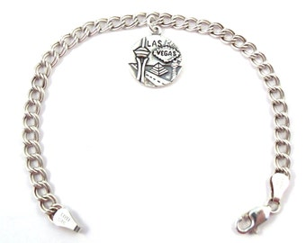 Sterling Silver Las Vegas Charm on a Sterling Silver Double Link Traditional Charm Bracelet - 1821