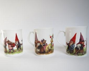 David the Gnome Rien Poortvliet mugs 3x, gnome mugs,